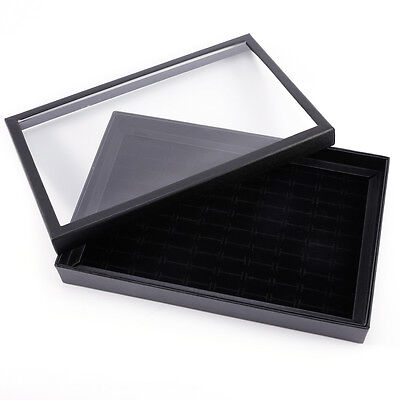 100 Ring Jewellery Display Storage Box Show Case Earring Holder  With Lids
