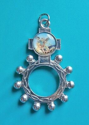 St Michael Archangel Silver Decade Rosary Beads Pocket Ring / Keyring Catholic