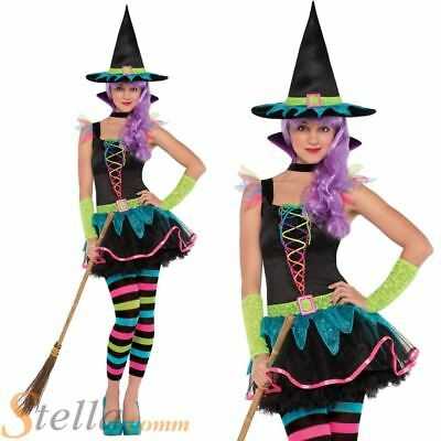 Girls Cute Witch Costume Kids Skulls Halloween Fancy Dress Hat Outfit Ages 5-12