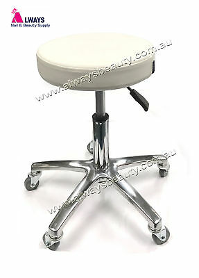 Salon Beauty Stool Gas Lift  Aluminum Base Leg Rubber Wheels Cream White Color