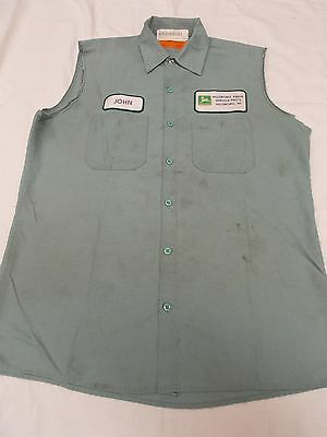 Destroyed John Deere Cut off sleeveless Dealer Work Shirt  Red Cap John Patch M