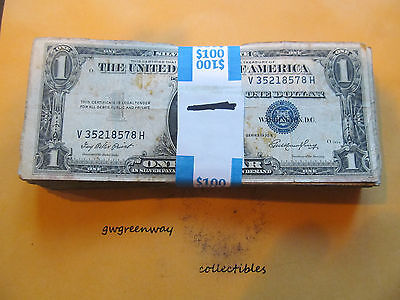 Lot of 100 $1 Dollar Silver Certificates, 1935-1957