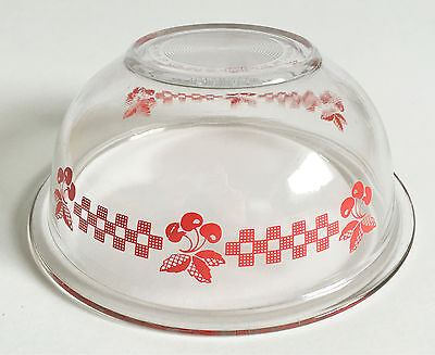 Pyrex Vintage 323 Clear Transparent Glass Mixing Bowl Gingham Red Cherries 1.5L