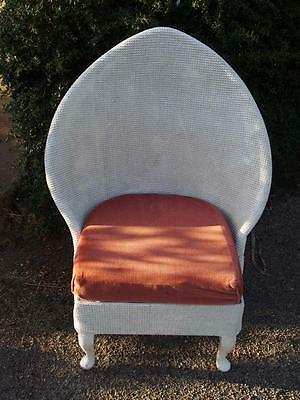 A Rare Vintage Mid Century Loom Style Shield/Fan Back White Tub/Feature Chair