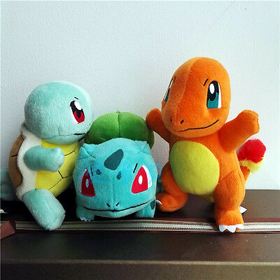 New POKEMON CENTER Takara TOMY Bulbasaur & Squirtle & Charmander Plush Toy 3PCS
