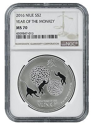 2016 Niue 1oz Silver Lunar Monkey NGC MS70 - Brown Label