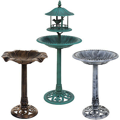 Bird Bath Traditional Ornamental Pedestal Outdoor Garden Water Bronze & Stone