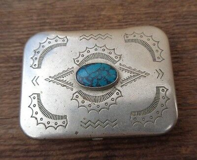 Vintage Native American Silver Turquoise Pill Trinket Box Navajo