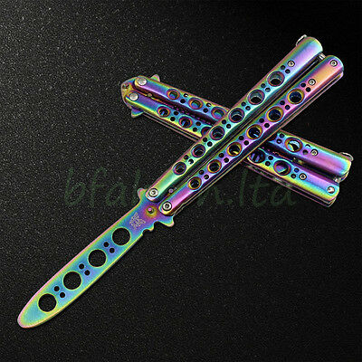 UK Butterfly Balisong Comb Stainless Steel Practice Training Knife Trainer Dull