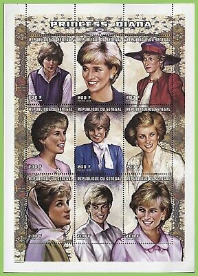 Senegal 1998 200F x 9 Princess Diana sheet, MNH