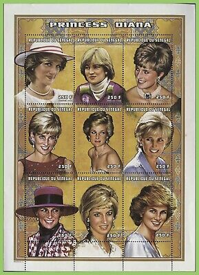 Senegal 1998 250F x 9 Princess Diana sheet, MNH