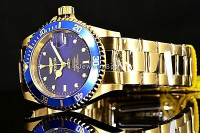 Invicta Mens 40mm Pro Diver Automatic Blue Dial 18K Gold Plated Coin Edge Watch