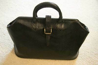 Vintage Antique Black Cowhide Leather Doctor Bag Steampunk, Cosplay
