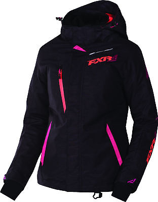 FXR Womens Black Tri/Fuchsia/Electric Tangerine Vertical Pro Snow Jacket Shell