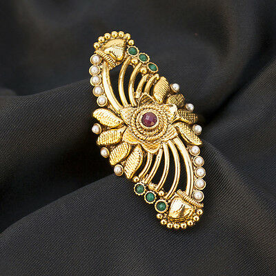Indian Ethnic Bollywood Gold Plated Adjustable Ring in Pearl Red Green Enamel