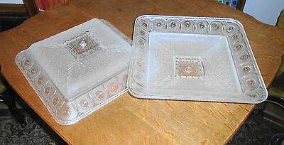 PAIR of Square 14 inch Antique Art Deco Heavy Frosted Glass Light Fixure Covers