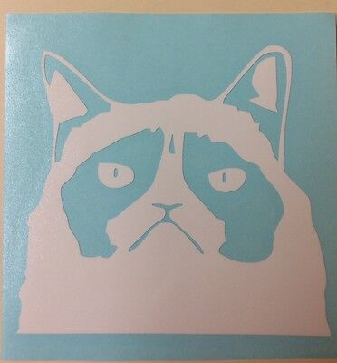 Grumpy Cat Vinyl Decal In White