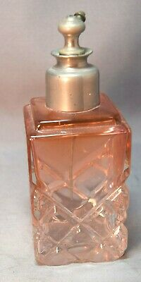 Art Deco Pressed Glass Rose Fading to Clear Perfume Atomizer!  Beautiful