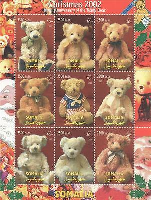 CHRISTMAS 2002 100th ANNIVERSARY OF THE TEDDY BEAR MNH STAMP SHEETLET