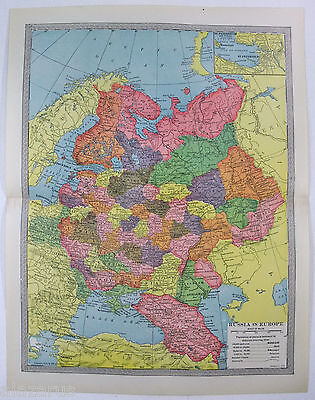 Original 1904 Map of Russia in Europe by The Americana Company