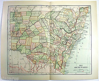 Vintage Original 1895 Map of New South Wales Australia