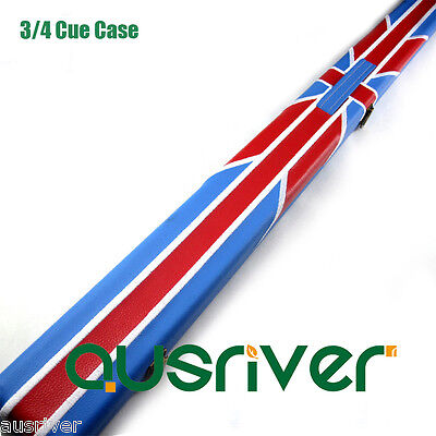 Fashion British Flag 3/4 Billiards Pool Snooker Cue Case Storage PU Leather Gift
