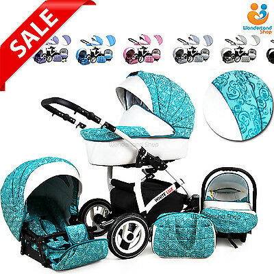 Pram Stroller Pushchair 3in1 Car Seat Carrycot Travel System Buggy FREEBIES