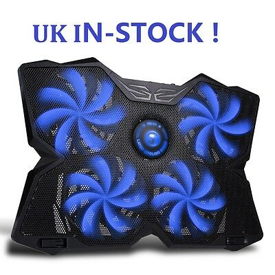 Marvo FN-30 Double USB 4 Fans Computer Cooler Laptop Cooling Pad Blue UK STOCK