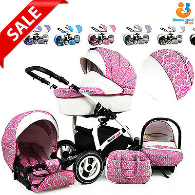 Baby Pram Stroller Pushchair 3in1 Car Seat Carrycot Travel System Buggy 10COLS.