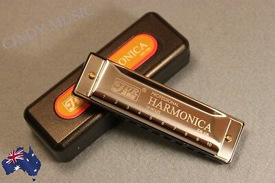 JDR Harmonica 10 Holes Key of C for Blues Rock Jazz Folk+ Cloth + Case New