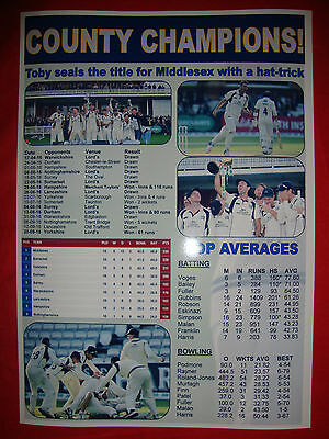Middlesex CCC 2016 County Champions - souvenir print
