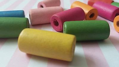 20pcs 20x10mm painted tube mixed wooden beads crafts children