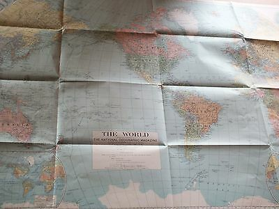 THE WORLD 1932  Large vintage National Geo map ZW59