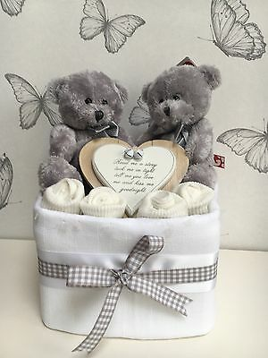 Twins Nappy Cake One Tier Baby Shower Gift New Baby Gift Maternity Present