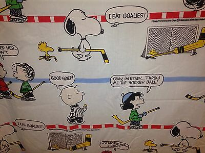 PEANUTS GANG CHARLIE BROWN SNOOPY ICE HOCKEY Twin Flat Bed Sheet Fabric Vintage