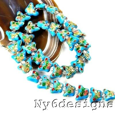 "10x15x6mm Turquoise Blue Cloisonne Butterfly Beads 15"" (OT196)a for DIY Jewelry"