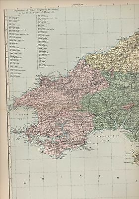 Wales South West c.1900 Bacon's Geographical Establishment MFF3