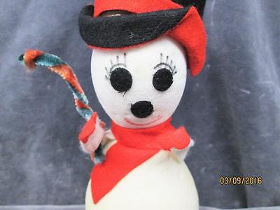 Vintage White Flocked Snowman Christmas Ornament Decoration Made In Japan