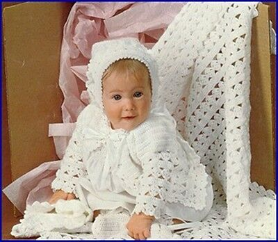 Baby Crochet Pattern in 3 Ply  Shawl Matinee Jacket and Bonnet FREE Post