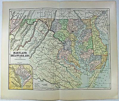 Original 1885 Map of Maryland and Delaware by Phillips & Hunt