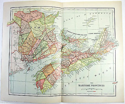 Original 1898 Map of New Brunswick, Nova Scotia & PEI Canada