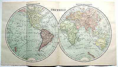 Original 1895 Map of The Western & Eastern Hemispheres