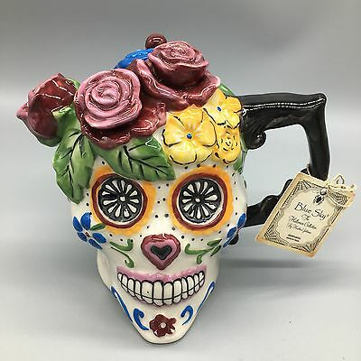 Blue Sky Clayworks Teapot Skull Flowers Day of the Dead Goldminc Halloween NEW