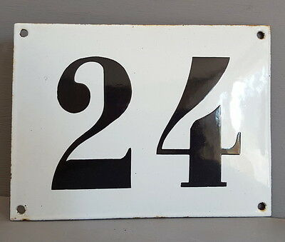 LARGE ANTIQUE FRENCH ENAMEL METAL DOOR HOUSE GATE NUMBER SIGN Black & white 24