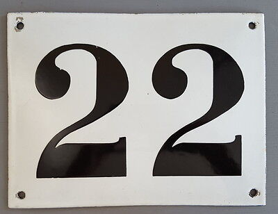 LARGE ANTIQUE FRENCH ENAMEL METAL DOOR HOUSE GATE NUMBER SIGN Black & white 22