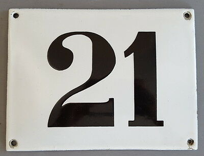 LARGE ANTIQUE FRENCH ENAMEL METAL DOOR HOUSE GATE NUMBER SIGN Black & white 21