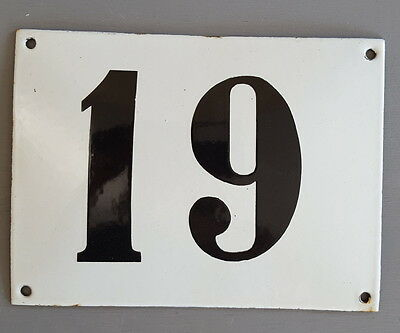 LARGE ANTIQUE FRENCH ENAMEL METAL DOOR HOUSE GATE NUMBER SIGN Black & white 19