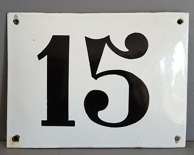 LARGE ANTIQUE FRENCH ENAMEL METAL DOOR HOUSE GATE NUMBER SIGN Black & white 15
