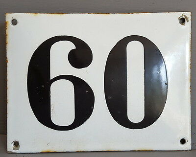 LARGE ANTIQUE FRENCH ENAMEL METAL DOOR HOUSE GATE NUMBER SIGN Black & white 60