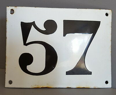 LARGE ANTIQUE FRENCH ENAMEL METAL DOOR HOUSE GATE NUMBER SIGN Black & white 57